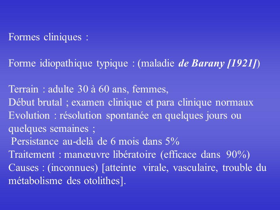 Formes cliniques : Forme idiopathique typique : (maladie de Barany [1921]) Terrain : adulte 30 à 60 ans, femmes,